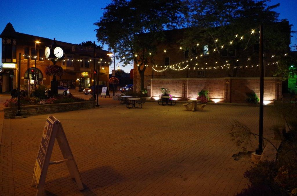 Centennial Plaza at night