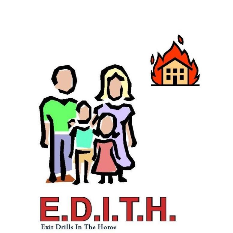 Exit Drills In The Home picture of a family with house on fire in background