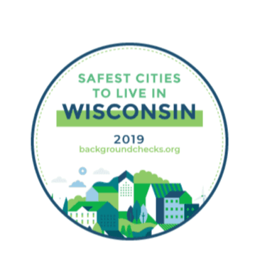 Safe City - Picture of a city with the words &#34SAFEST CITIES TO LIVE IN WISCONSIN - 2019&#34
