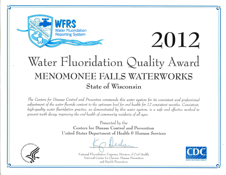 2012 Fluoridation Award - Centers for Disease Control