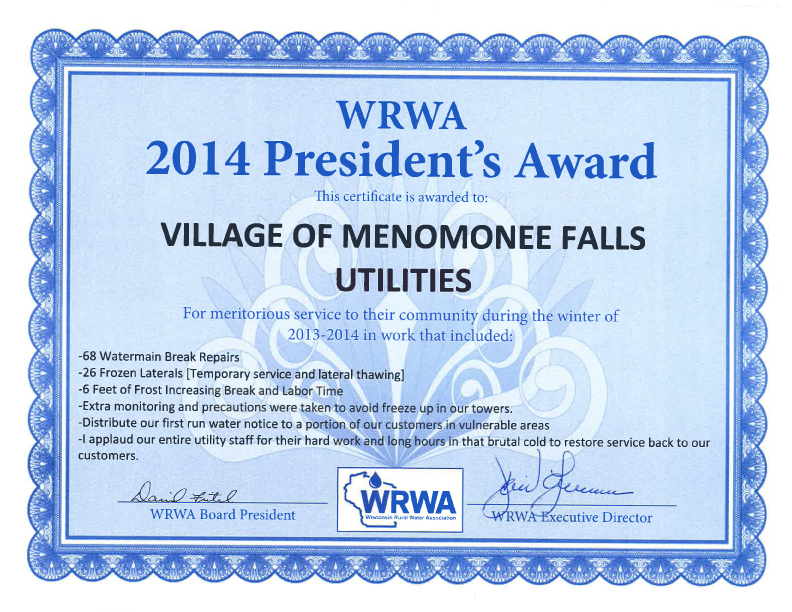 Wisconsin Rural Water Association 2014 Award