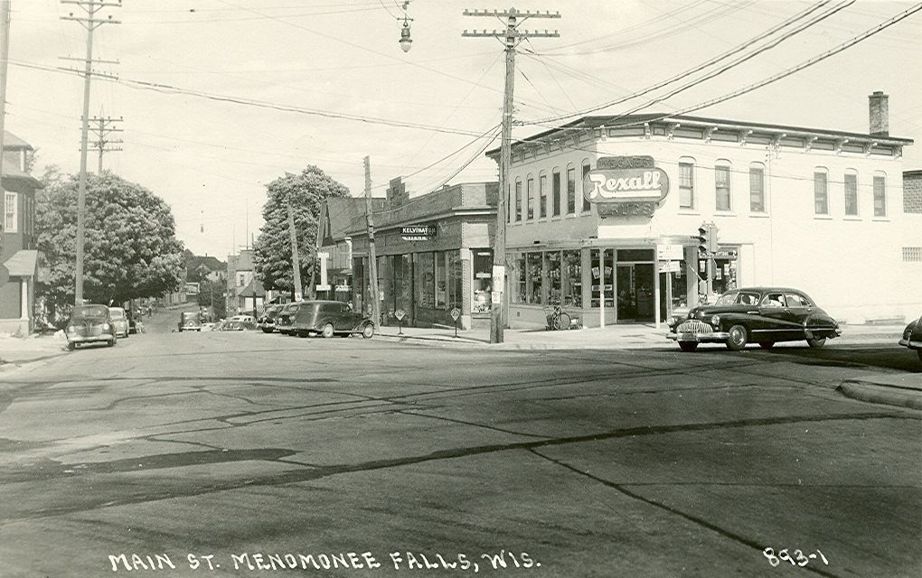 Main Street and Appleton Ave. looking east on Main Street.  Rexall now Ninos